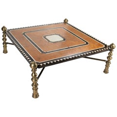 1970s Inlay Marquetry Low Coffee Table Designed by Jaime Parlade