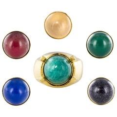 1970s Interchangeable Stones 18 Karat Yellow Gold Ring