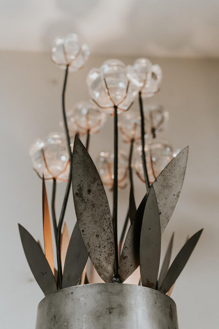 1970s Iron Lamp with Glass Flowers For Sale 8