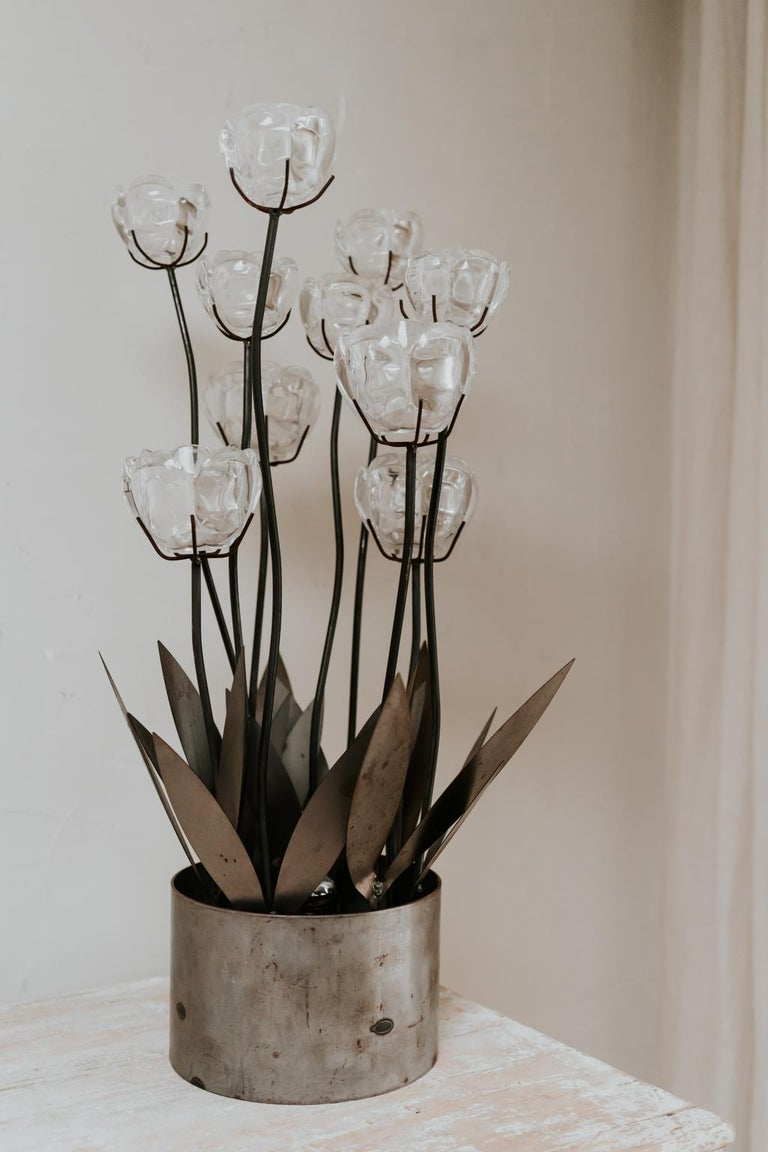 1970s Iron Lamp with Glass Flowers For Sale 10