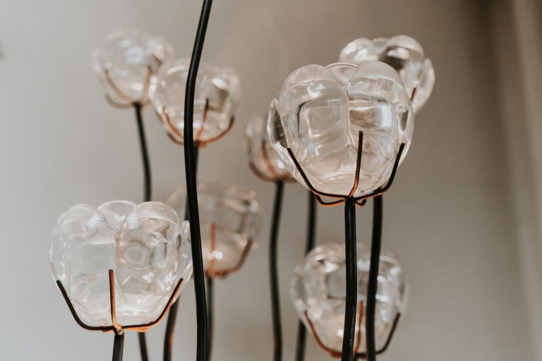 French 1970s Iron Lamp with Glass Flowers For Sale