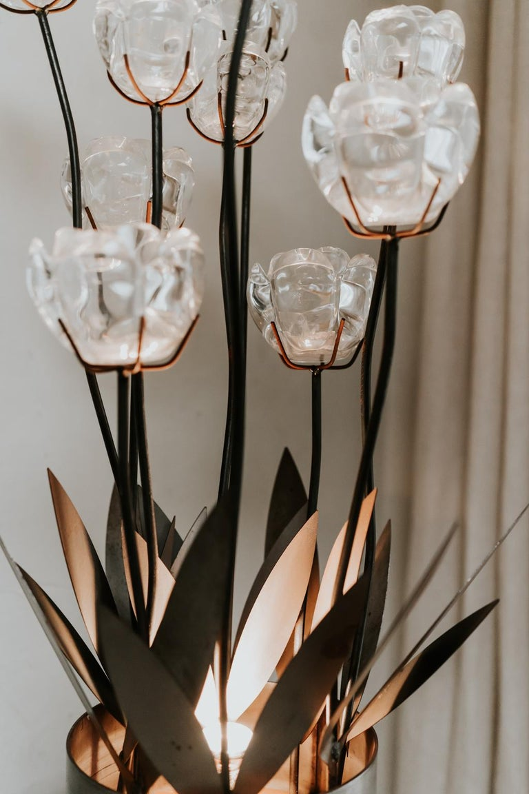 20th Century 1970s Iron Lamp with Glass Flowers For Sale