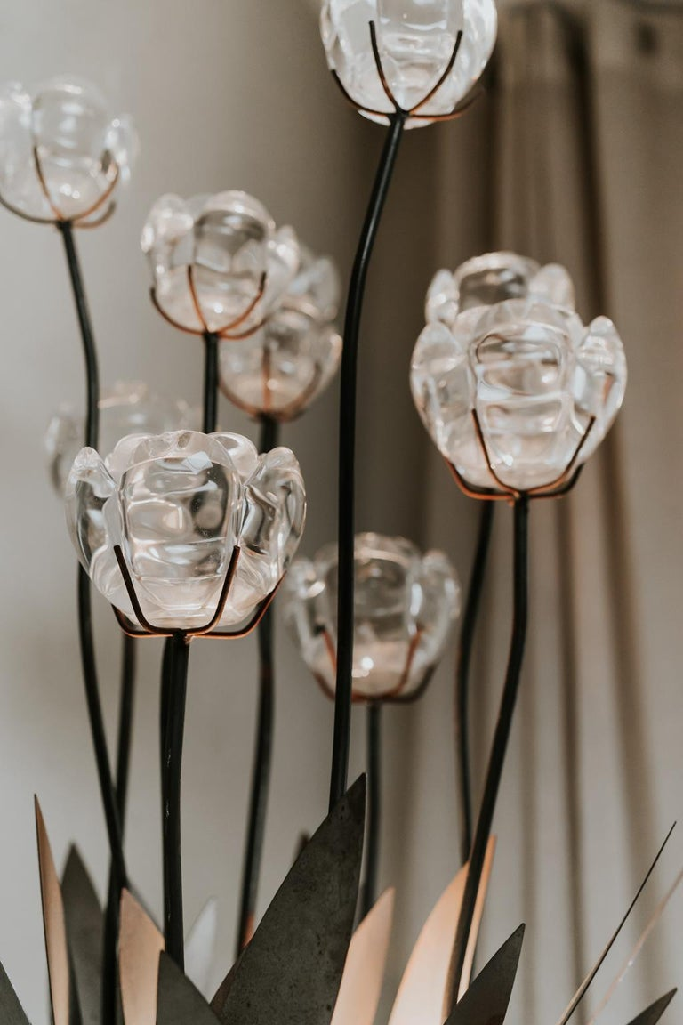 1970s Iron Lamp with Glass Flowers For Sale 3