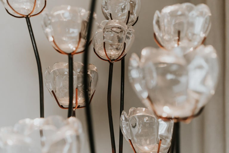 1970s Iron Lamp with Glass Flowers For Sale 4