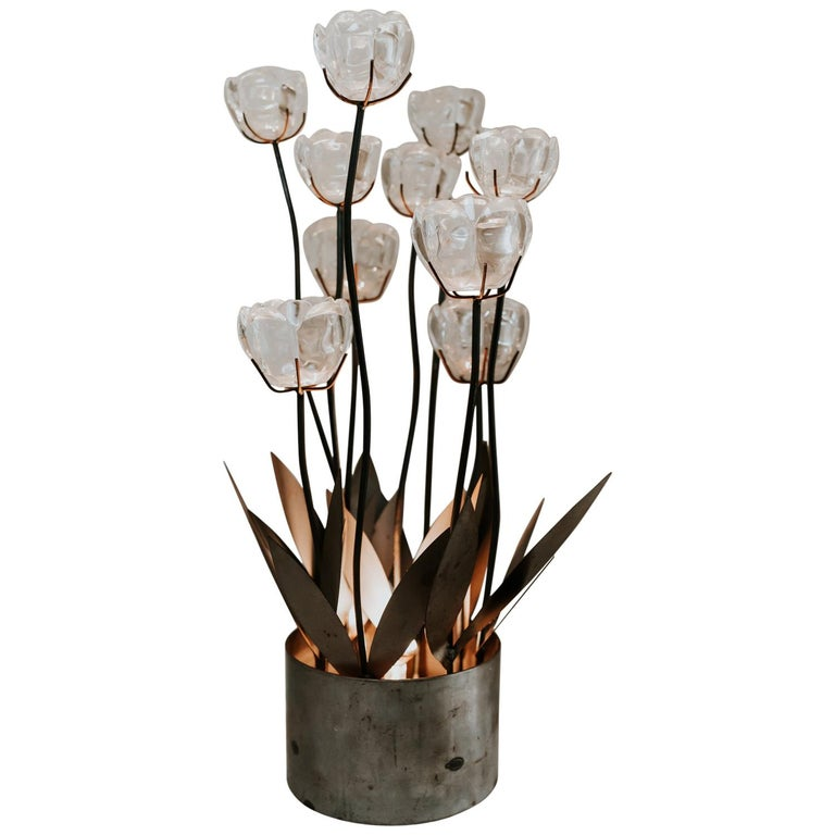1970s Iron Lamp with Glass Flowers For Sale