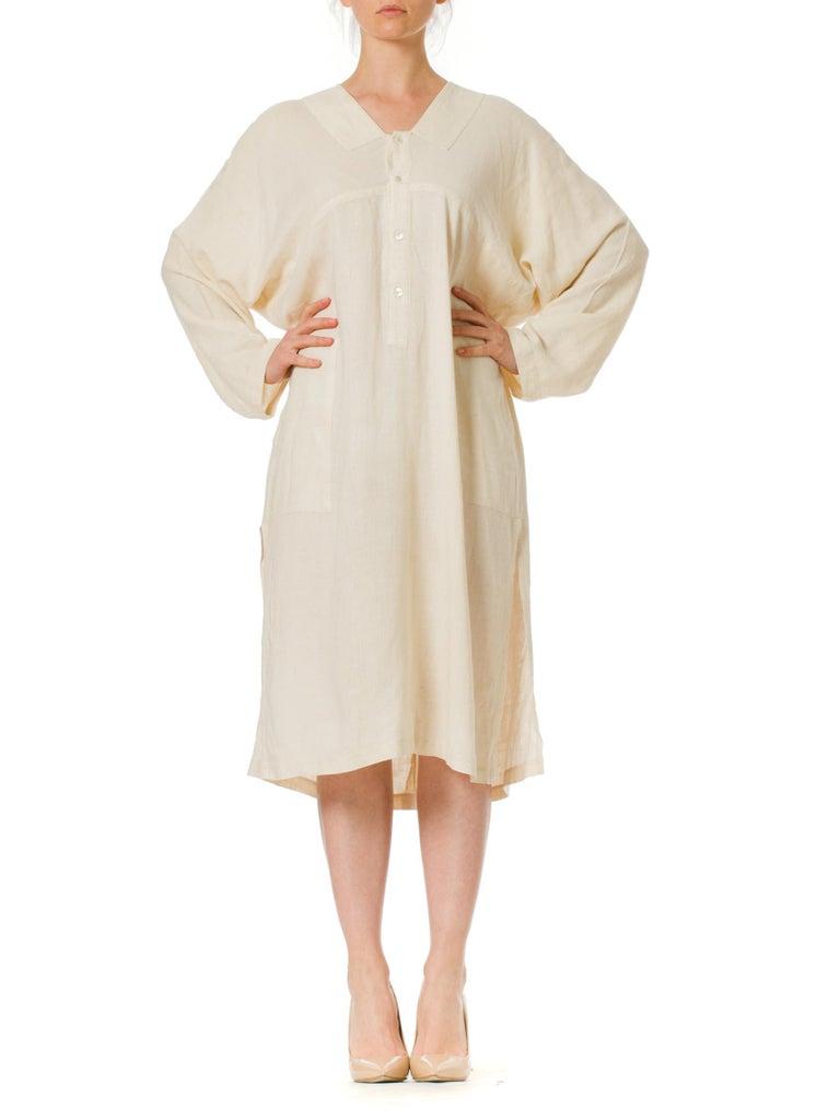 Beige 1970S ISSEY MIYAKE Ivory Linen Kaftan Shirt For Sale