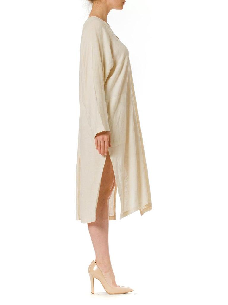 Women's or Men's 1970S ISSEY MIYAKE Ivory Linen Kaftan Shirt For Sale