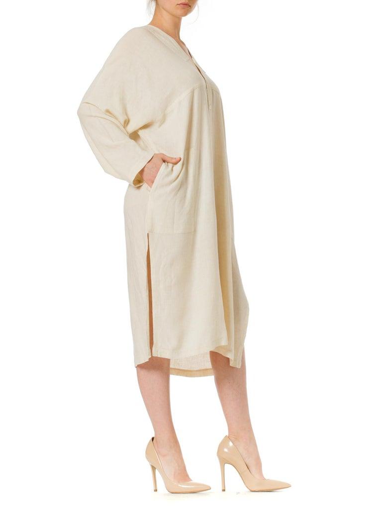 1970S ISSEY MIYAKE Ivory Linen Kaftan Shirt For Sale 1