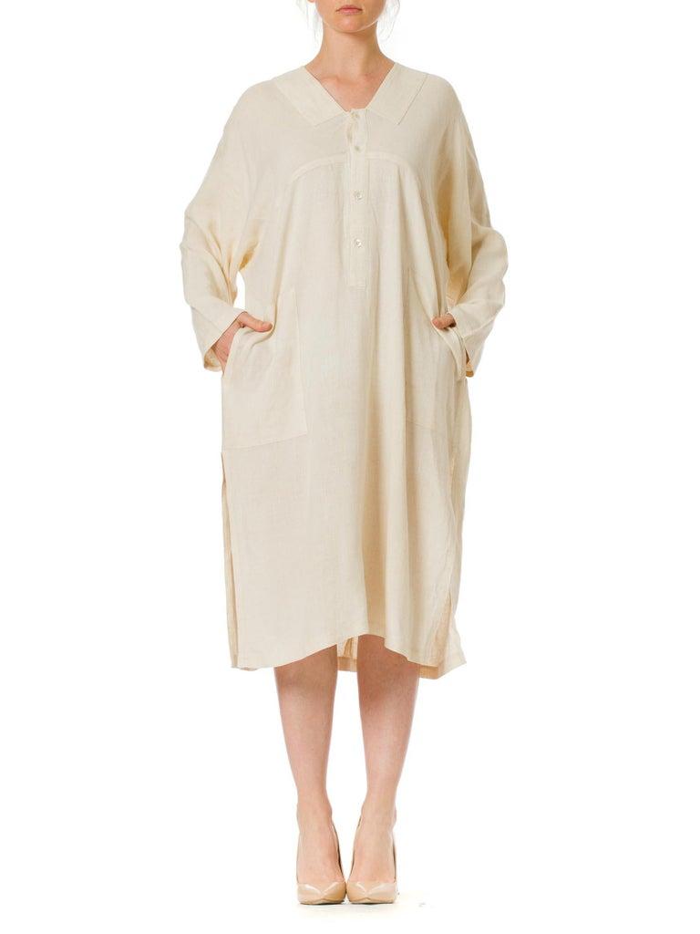 1970S ISSEY MIYAKE Ivory Linen Kaftan Shirt For Sale 2