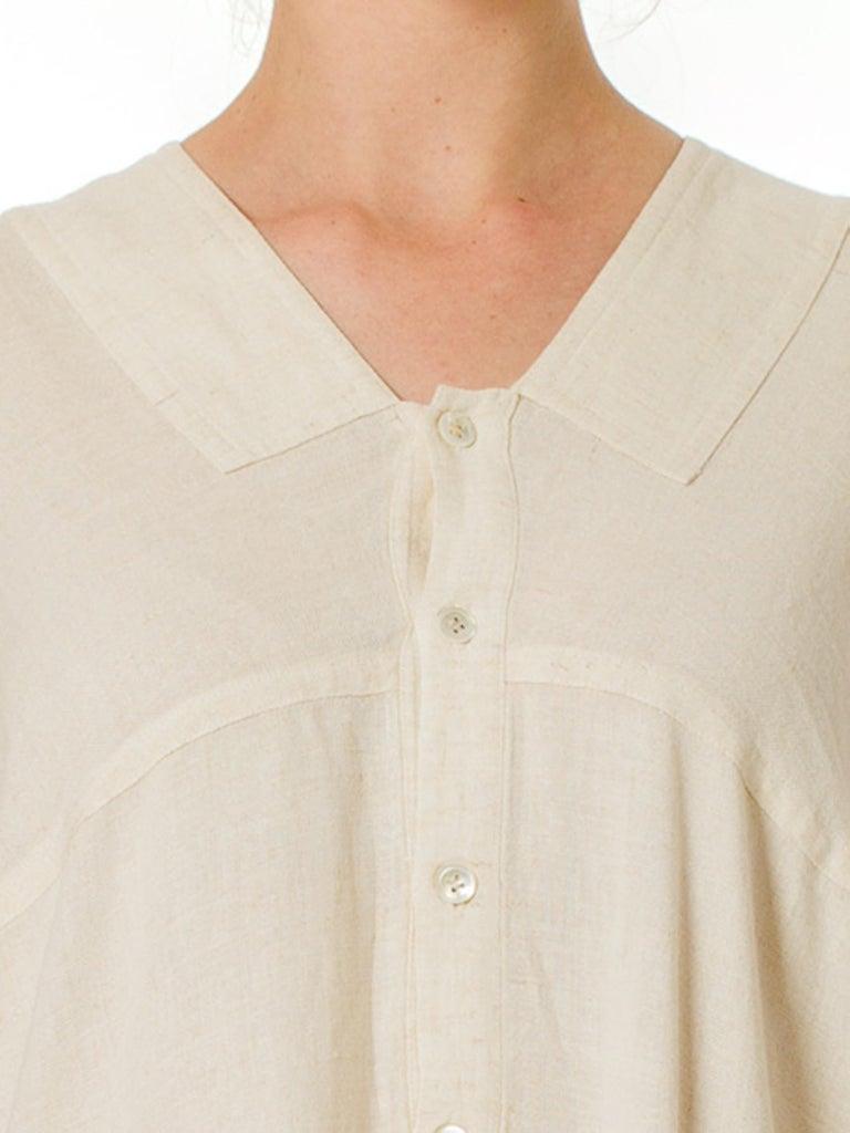 1970S ISSEY MIYAKE Ivory Linen Kaftan Shirt For Sale 5