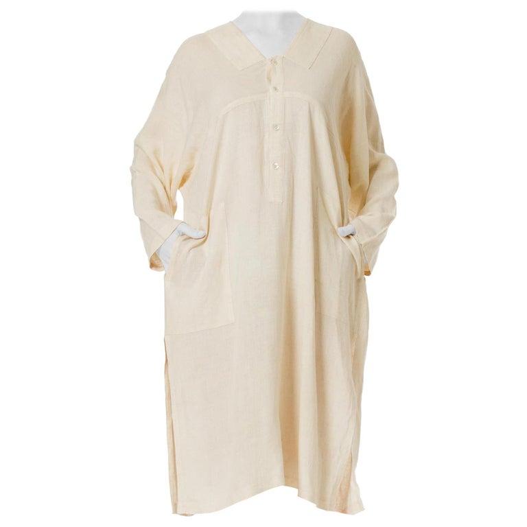 1970S ISSEY MIYAKE Ivory Linen Kaftan Shirt For Sale