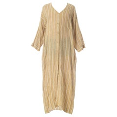 1970S ISSEY MIYAKE STYLE- Style Beige & White Cotton Blend Tunic Duster
