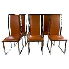 1970s Italchom Italian Leather & Chrome Chairs, Set of 6