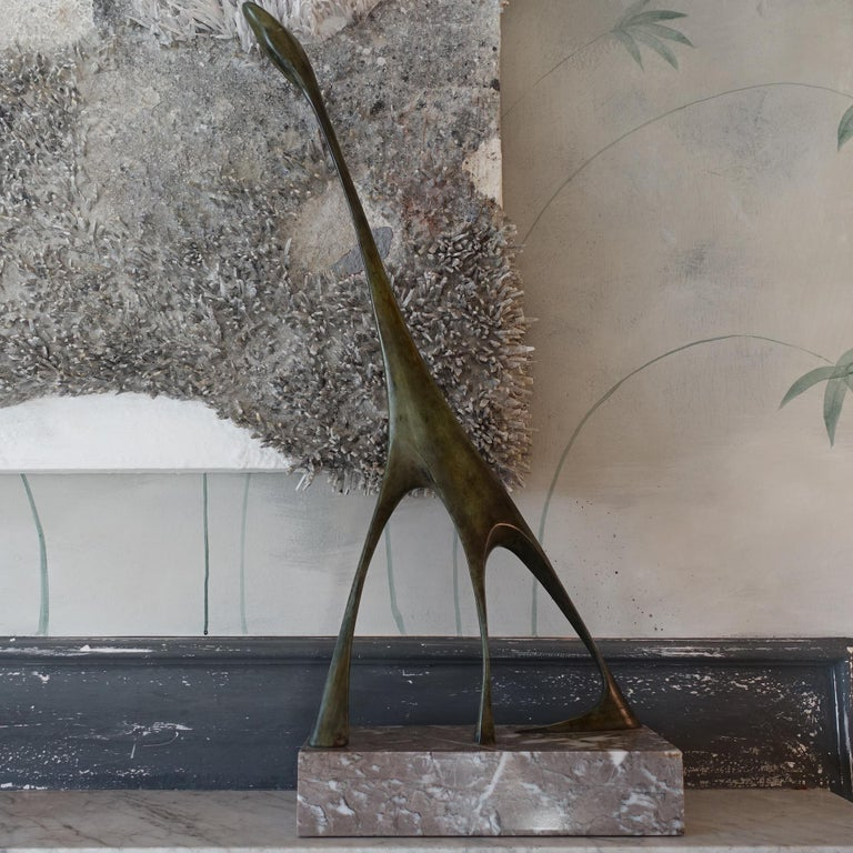 One of a kind abstract sculpture in bronze with marble base, beautiful vintage patina, signed, Italy, circa 1970s.