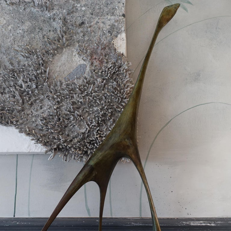 Late 20th Century 1970s Italian Abstract Animal Bronze Sculpture, Marble Base For Sale