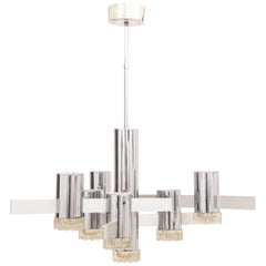 1970s Italian Abstract Chrome and Glass Chandelier by Gaetano Sciolari
