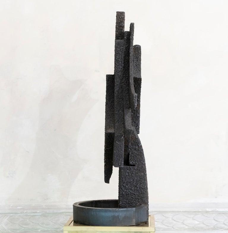 Brutalist 1970s Italian Abstract Steel Sculpture By Antonio Murri