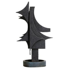 1970s Italian Abstract Steel Sculpture, Signed A.Murri