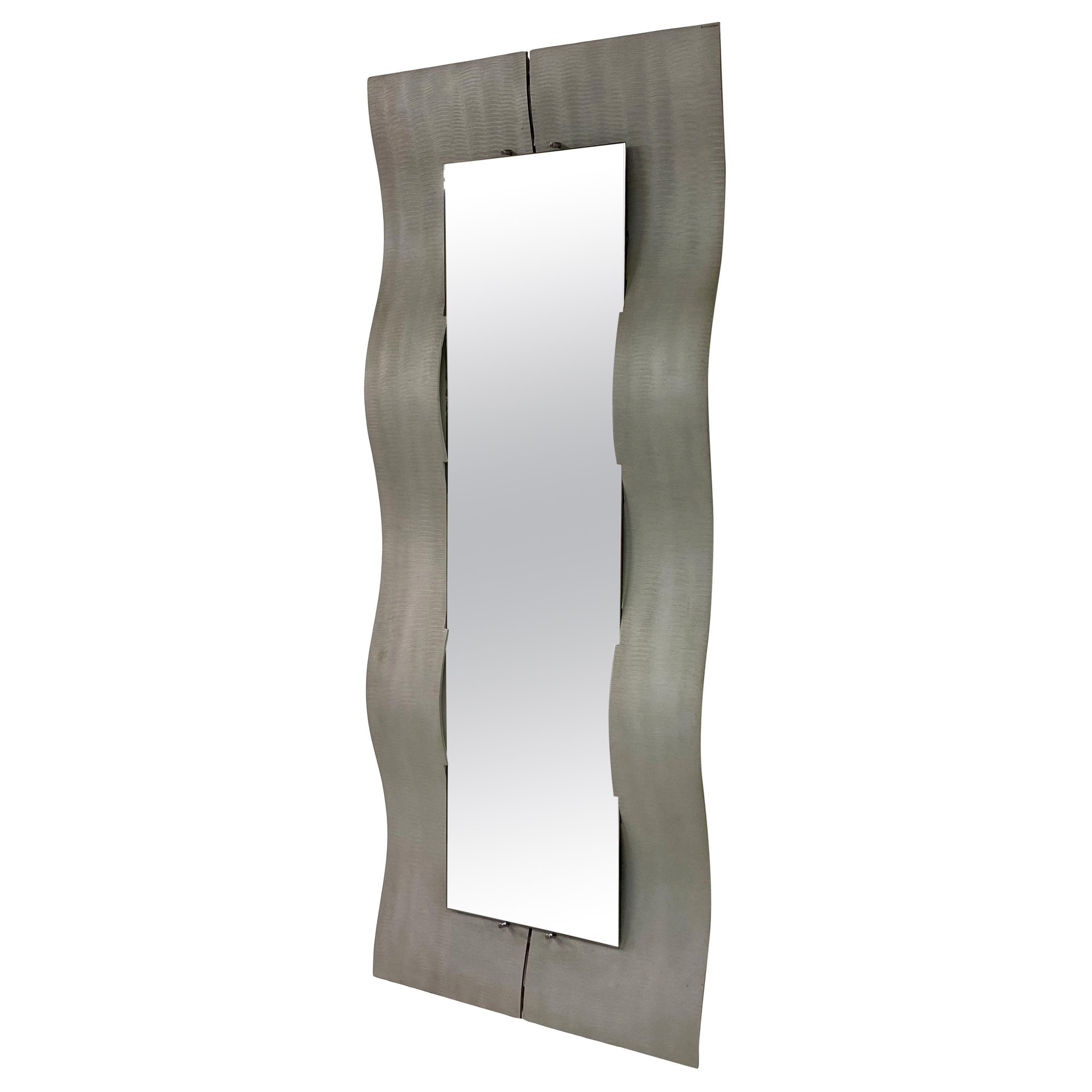 1970s Italian Aluminium Mirror by Lorenzo Burchiellaro