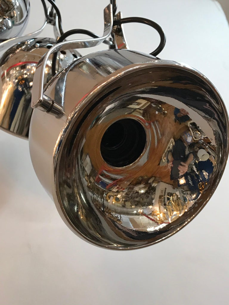 1970s Italian Architectural Chrome 6-Light Pendant Fixture In Good Condition For Sale In New York, NY