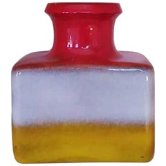 1970s Italian Astonishing Red White and Yellow Space Age Vase in Ceramic