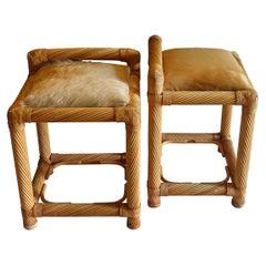 1970's Italian Bamboo and Rattan Stools Pony Skin Leather Seats