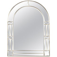 1970s Italian Beveled Glass Mirror with Brass Frame