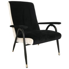 1970s Italian Black and White Velvet Armchair