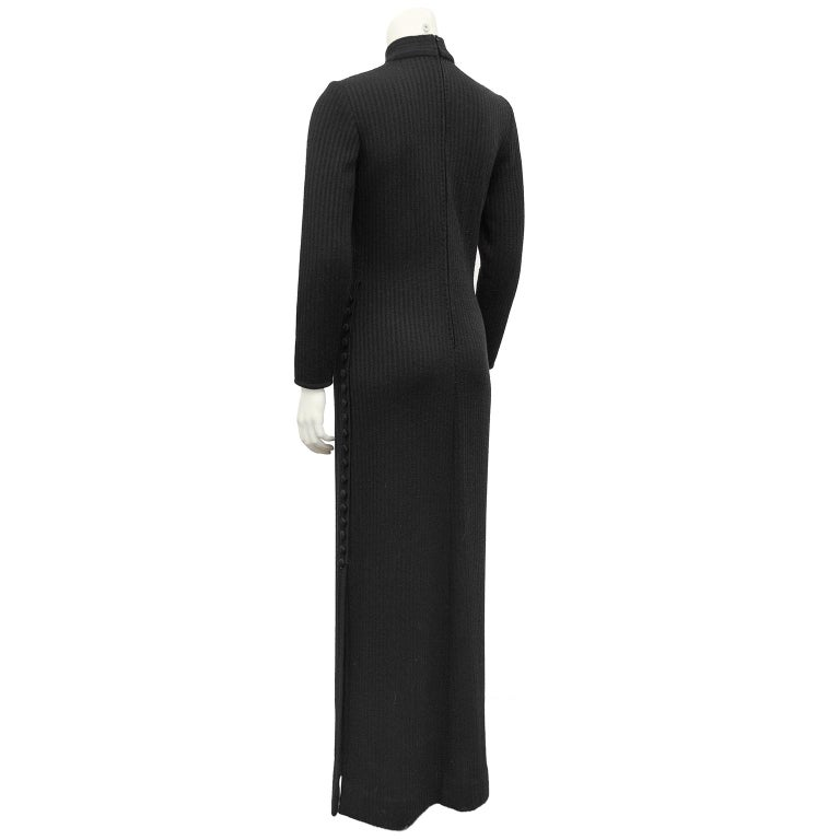 1970's Italian Black Knit Gown  In Good Condition For Sale In Toronto, Ontario