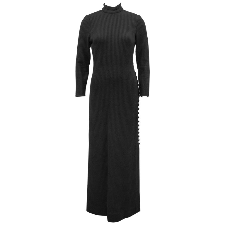1970's Italian Black Knit Gown  For Sale