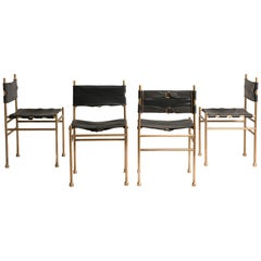 1970s Italian Brass and Black Leather Chairs by Frigerio