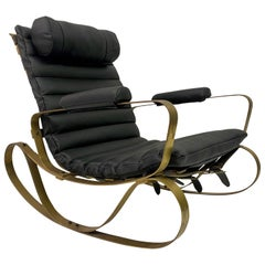 1970s Italian Brass and Black Leather Rocking Chair by Luciano Frigerio