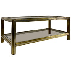 1970s Italian Brass and Chrome Coffee Table by Romeo Rega