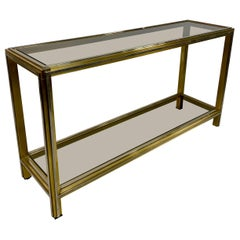 1970s Italian Brass and Chrome Console Table by Romeo Rega