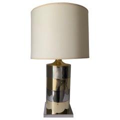 1970s Italian Brass and Chrome Lamp