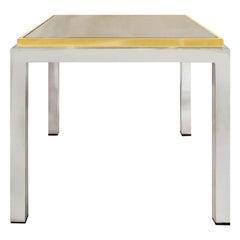 1970s Italian Brass and Chrome Side Table by Romeo Rega