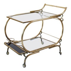 1970s Italian Brass and Glass Bar Cart