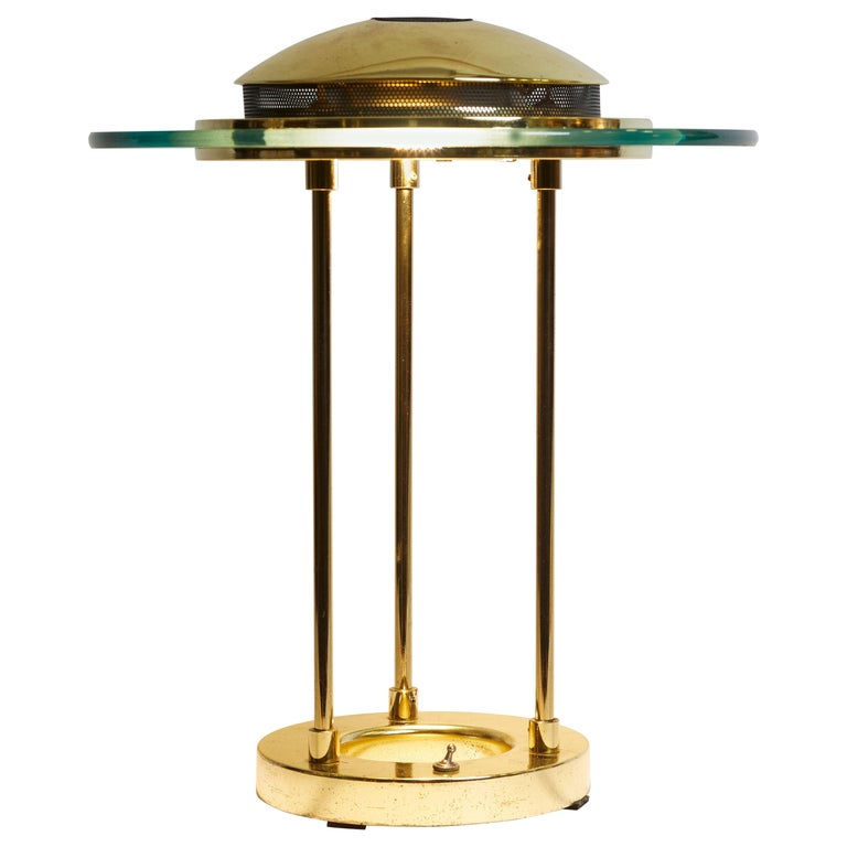 1970s Italian Brass and Glass Circular Table Lamp For Sale