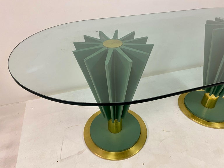 Mid-Century Modern 1970s Italian Brass and Iron Dining Table by Pierre Cardin For Sale