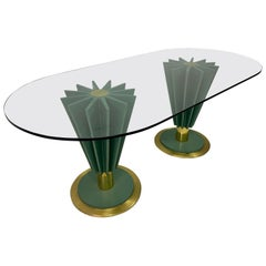 1970s Italian Brass and Iron Dining Table by Pierre Cardin