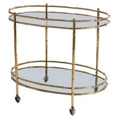 1970s Italian Brass Bamboo Design and Smoked Glass Two-Tier Bar Cart