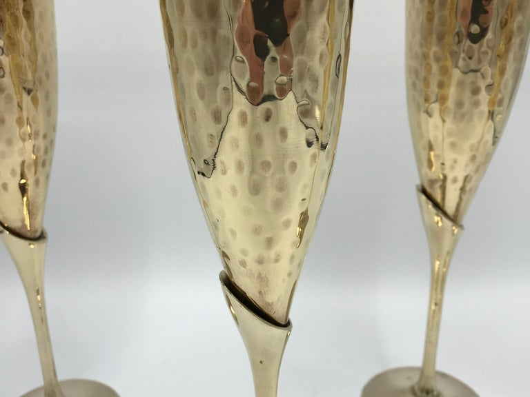 Modern 1970s Italian Brass Champagne Flutes, Set of Four For Sale