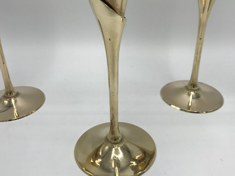 Polished 1970s Italian Brass Champagne Flutes, Set of Four For Sale