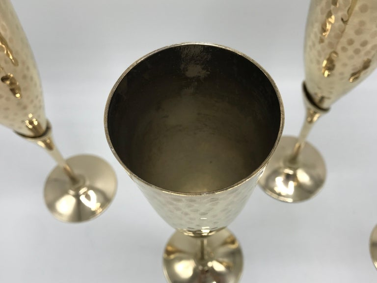 20th Century 1970s Italian Brass Champagne Flutes, Set of Four For Sale