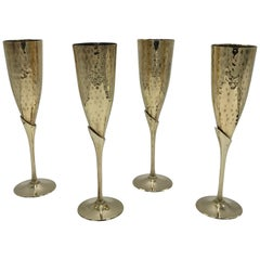 1970s Italian Brass Champagne Flutes, Set of Four