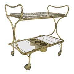 1970s Italian brass Cocktail Trolley or Drinks Bar Cart