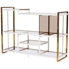 1970s Italian Brass Console in White Enamel and Smoked Glass
