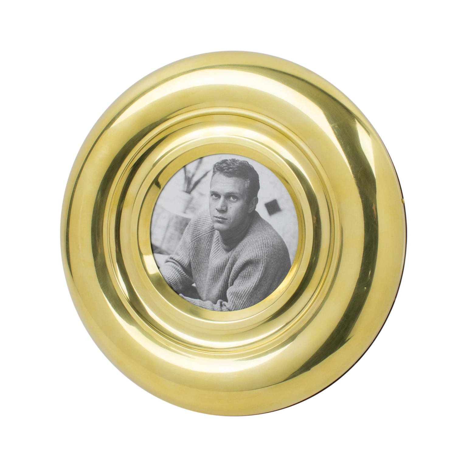 1970s Italian Brass Round Picture Frame