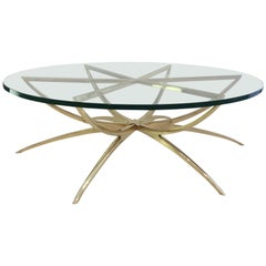1970s Italian Brass Spider Based Cocktail Table