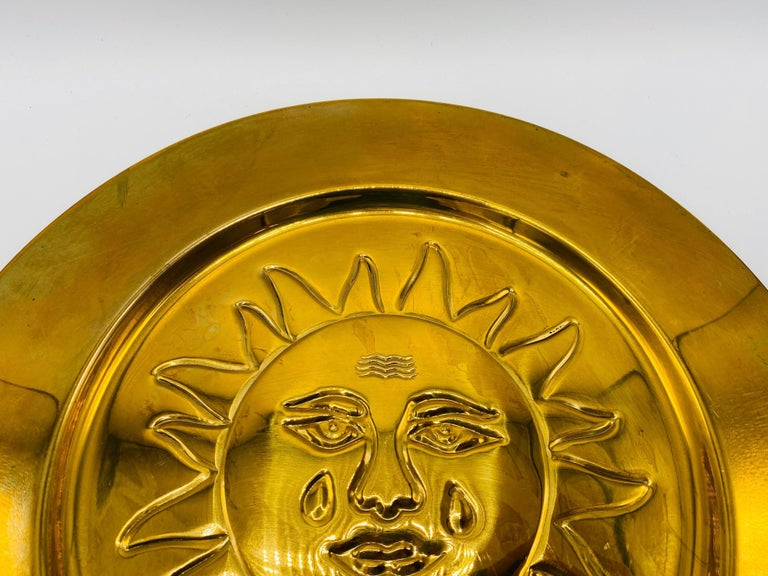 Bohemian 1970s Italian Brass Sun Charger Plates, Set of 6 For Sale